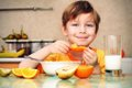 boy with healthy foods