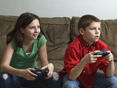 Kids playing video